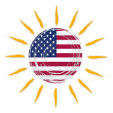 American flag in sun Stock Photography