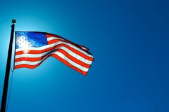 American Flag Sunlit from Behind Stock Image