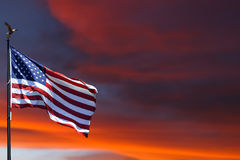 American flag with sunset Stock Image