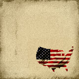 American Flag Tapestry. Burlap canvas tapestry background with the map of America shaped into the United States Of America flag in red, white, and blue all in vector illustration