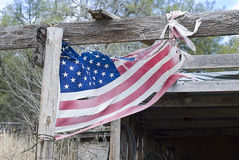 American Flag Tattered and Torn Stock Image