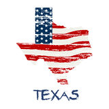 American Flag in Texas Map in Grunge Style Royalty Free Stock Photos