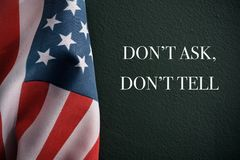 American flag and text dont ask dont tell royalty free stock images