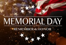 American flag with the text Memorial day. Stock Photo