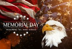 American flag with the text Memorial day. Stock Photos