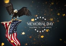 American flag with the text Memorial day. Celebration of all who served Royalty Free Stock Images