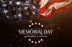 American flag with the text Memorial day. Celebration of all who served stock photos
