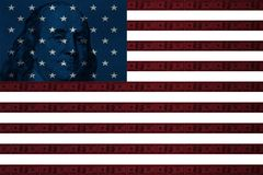 American flag with dollars on the bands. American flag with the texture of dollars on the stripes vector illustration