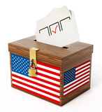 American flag textured ballot box and enveloppe. 3D illustration.  Stock Images