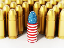 American flag textured bullet among yellow bullets. 3D illustration.  Stock Photography