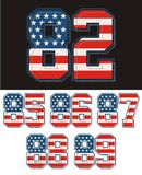 american flag textured set of numbers Stock Photography