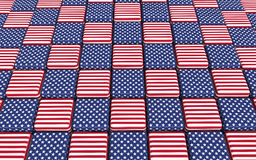American flag themed cubes floor. 3D render of american flag themed floor made up of cubes containing stars and stripes vector illustration