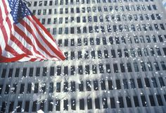 American Flag in Ticker Tape Parade Stock Image