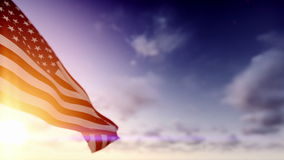 American Flag, Time Lapse Clouds. American Flag against Time Lapse Clouds stock video footage