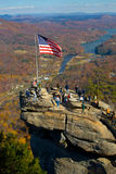 American flag on top of Chimney rock Stock Photography