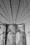 American flag on top of famous Brooklyn Bridge Stock Images
