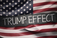 American flag and Trump Effect word Stock Photos