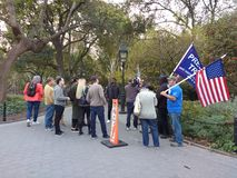 American Flag, Trump Supporters, Washington Square Park, NYC, NY, USA. It`s almost one year after the historic election of Donald Trump as the 45th President of Royalty Free Stock Photos