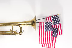American Flag Trumpet Stock Photo