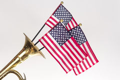American Flag Trumpet Royalty Free Stock Photography