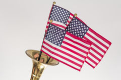 American Flag Trumpet Royalty Free Stock Photo