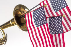American Flag Trumpet Stock Photography