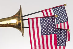American Flag Trumpet Royalty Free Stock Images