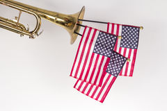 American Flag Trumpet Stock Images