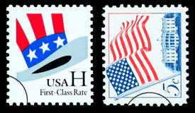 American Flag and Uncle Sam's Hat Postage Stamps Stock Photo