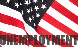American flag with unemployment word Royalty Free Stock Image