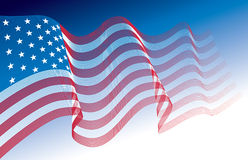 American Flag. US flag, blowing in the wind. Eps8. CMYK. Organized by layers. Global colors. Gradients used Stock Photos