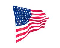 American flag, USA flag on white background : 3D rendering. Illustration design Stock Image