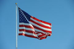 American Flag USA. An American flag flapping boldly in the wind Stock Photo
