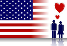American flag and Valentine couple Stock Photo
