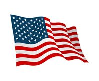 American flag. Vector flat color illustration isolated on white. Background