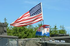 American flag on vehicle Stock Image