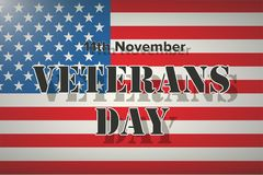 American Flag and Veterans Day Label. Poster of old and modern wars. Vector Illustration Stock Images