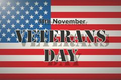 American Flag and Veterans Day Label. Poster of old and modern wars. Vector Illustration Stock Photography