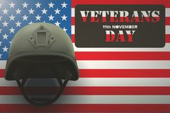American Flag and Veterans Helmet. Military helmet on the background of the American flag with Veterans day Poster of WWII or modern wars. Vector Illustration Royalty Free Stock Photo