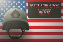 American Flag and Veterans Helmet. Military helmet on the background of the American flag with Veterans day Poster of WWII or modern wars. Vector Illustration Royalty Free Stock Photos