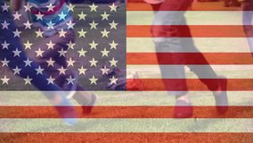 American flag video. Children playing against American Flag background stock footage