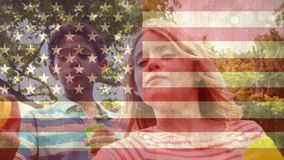 American flag video stock footage