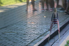 American Flag and the Vietnam Memorial Wall Royalty Free Stock Photo