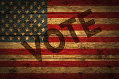 American flag with vote text. Stock Photo
