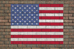 American flag on wall Stock Photo