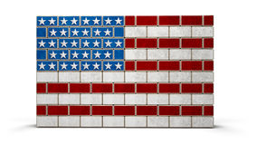 American flag wall made of bricks. Illustration of Immigration`s US Politics since 2017 Stock Images