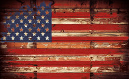 American Flag on Wall. American flag painted on grunge wall Stock Images