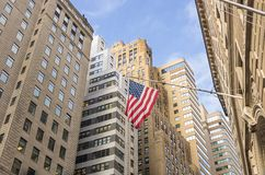 American flag at Wall Street,New York Stock Image