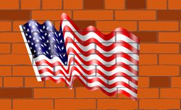 The American flag of on wallof bricks. The flag of American on wall bricks, The flag of the United States of America, often referred to as the American flag, is Royalty Free Stock Image