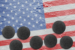 American flag and washers on the ice Stock Photos